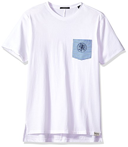 Scotch & Soda Men's Clean Crewneck Tee with Embroidered Woven Pocket, White, - And Scotch Soda