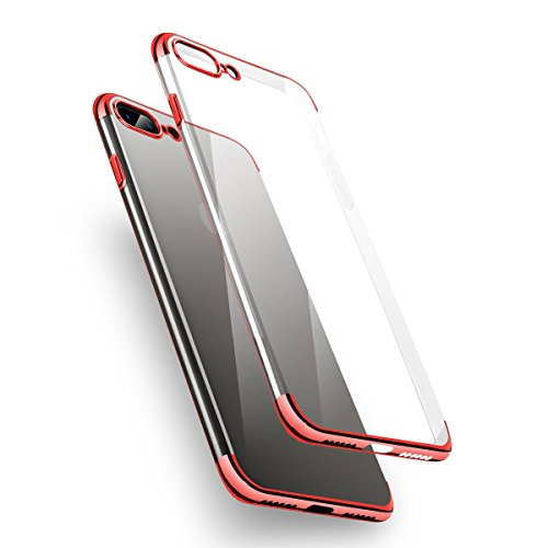 iPhone 8 Plus Case, iPhone 7 Plus Case B4Uebuy Soft Plating TPU Flexible Clear Ultra-Thin [Perfect Fit] Transparent Shining Lightweight Cover for Apple 5.5'' iPhone 8 Plus/iPhone 7 - Red Transparent