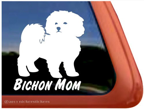 - Bichon Mom ~ Bichon Frise Dog Vinyl Window Auto Decal Sticker
