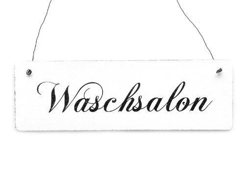 Shabby Vintage Schild Türschild WASCHSALON Holzschild Waschküche Wäsche