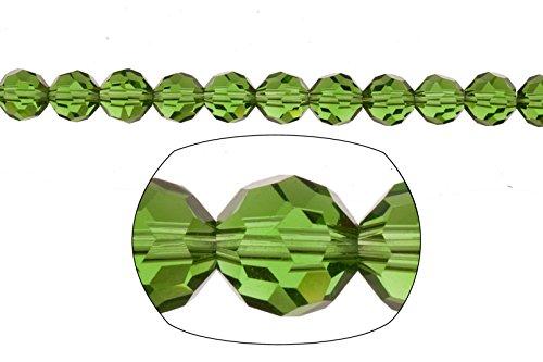 Crystal bead, 36-facet round cut, fern green,8mm