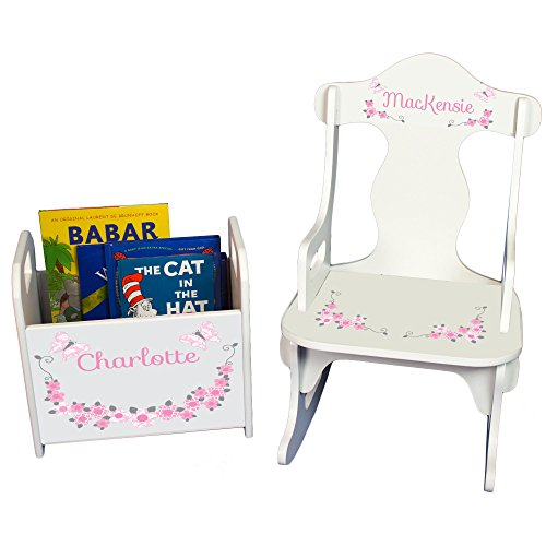 MyBambino Personalized Pink and Gray Butterflies Book Caddy and Puzzle Rocker Set