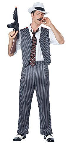 California Costumes Men's Mobster Costume, Black/White, (Gangster Halloween Costume Mens)
