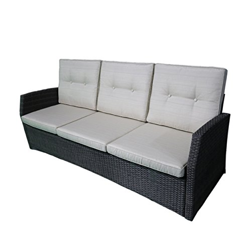 Joanne Outdoor 3 Seater Wicker Sofa, Grey with Beige Cushions