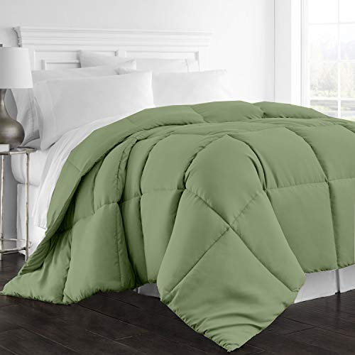 All Season Goose Down Alternative Comforter, 1000-TC King/Cal-King Size Luxury Comforter 1-PC Hypoallergenic 100% Egyptian Cotton Comforter Hotel Quality Soft 600 GSM, Moss Solid (102″x96″)