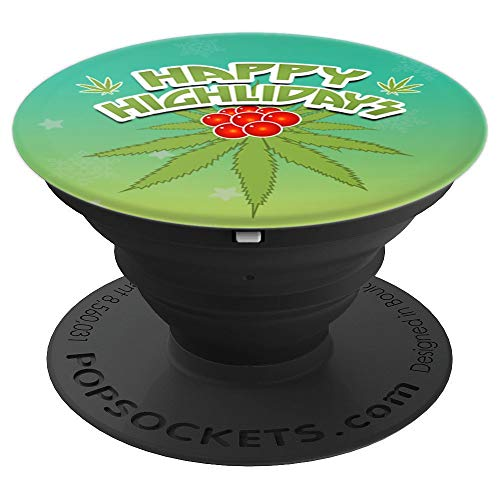 Happy Highlidays Weed Leaf Funny X-mas Holiday - PopSockets Grip and Stand for Phones and Tablets -
