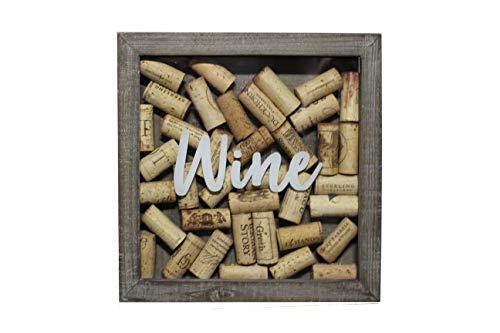 Barley & Vine Wine Cork Shadow Box - Rustic Gray - Quality Wood - Displays ~40 Corks - Easy Open Back - 10 x 10 in. - Metal Hanger Included (Wine Cork Frame Holder)