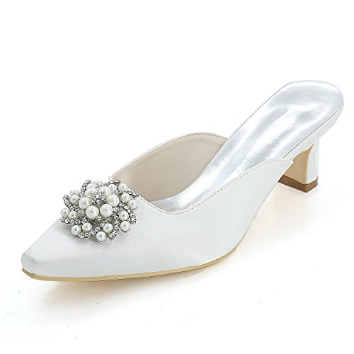 Yards Slippers Heels White Pump 0723 Large YC Color Multi Wedding 15K High Women L 4tqXxwzO