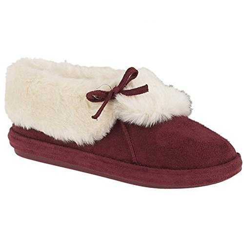 Mesdames Womens Slippers 8 Tailles Pantoufle Furry Cheville Faux 3 Suede Bottee Bordeaux qaqwgfZS