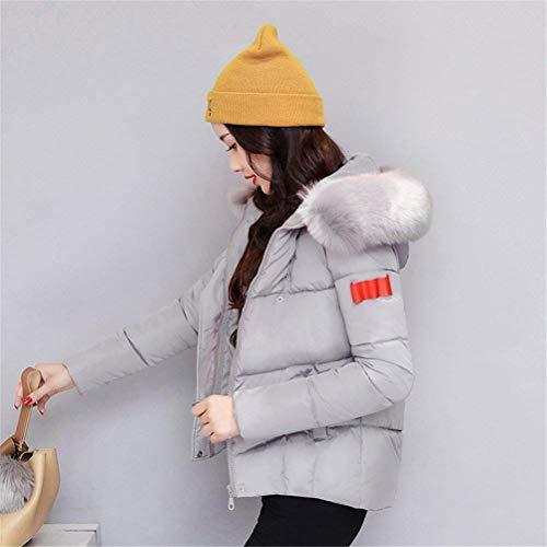Larga Plumas Mujer Outerwear Acolchada Piel De Slim Chaqueta Capucha Outdoor Pluma Estilo Especial Manga con Espesar Grau Invierno Fit prrEqw