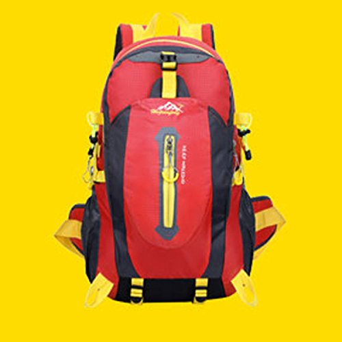 LQABW Alpinismo Al Aire Libre Del Hombro Hombres Mujeres Impermeable Ocio Paquete 65L De Gran Capacidad De Bolsa De Viaje Mochila 40L,Green Red