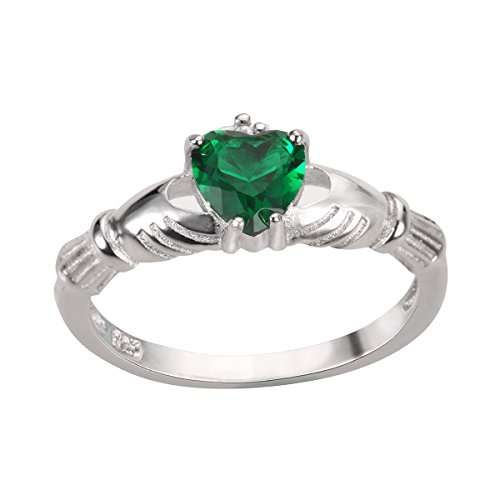 CloseoutWarehouse Simulated Emerald Cubic Zirconia Claddagh Benediction Ring Sterling Silver Size 4 by CloseoutWarehouse (Image #3)