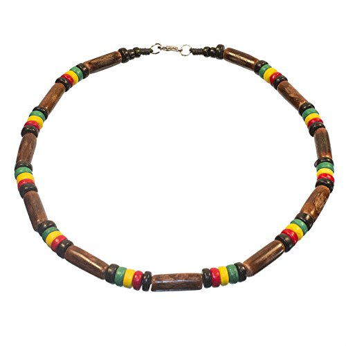 Surfer Necklace Dark Wood Tube and Coco Bead Rasta Necklace, Lobster Lock (18 IN)