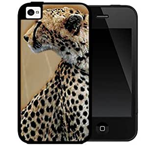 Beautiful Leopard Cat Animal Side Portrait 2-Piece Dual Layer High Impact Black Silicone Cell Phone Case Cover...