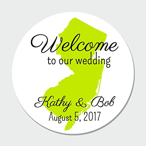 40 Customized New Jersey Wedding Welcome Label Stickers - Wedding Favor Stickers - Wedding Labels
