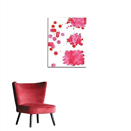 longbuyer Photo Wall Paper Watercolor Bright Pink spot Texture Background Isolated Set Mural ()