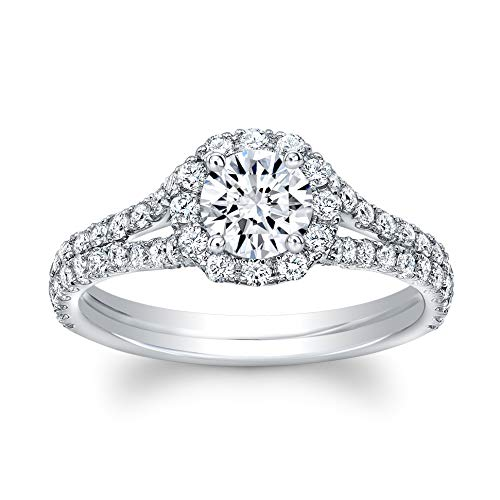 Round Brilliant Cut Diamond Set in 18K White Gold Single Shank Single Halo Pave Ring (Certified AGS .50 Center Stone H-I, VS1-VS2, 82 Full Cuts .80 TW)