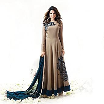 582f9dda0b Designer Beautiful Style Semi Stitched Heavy Georgette Anarkali Salwar Suit  Long Gown Dress with Fancy Work   Plain Nazmin Dupatta (Tan)  Amazon.in  ...