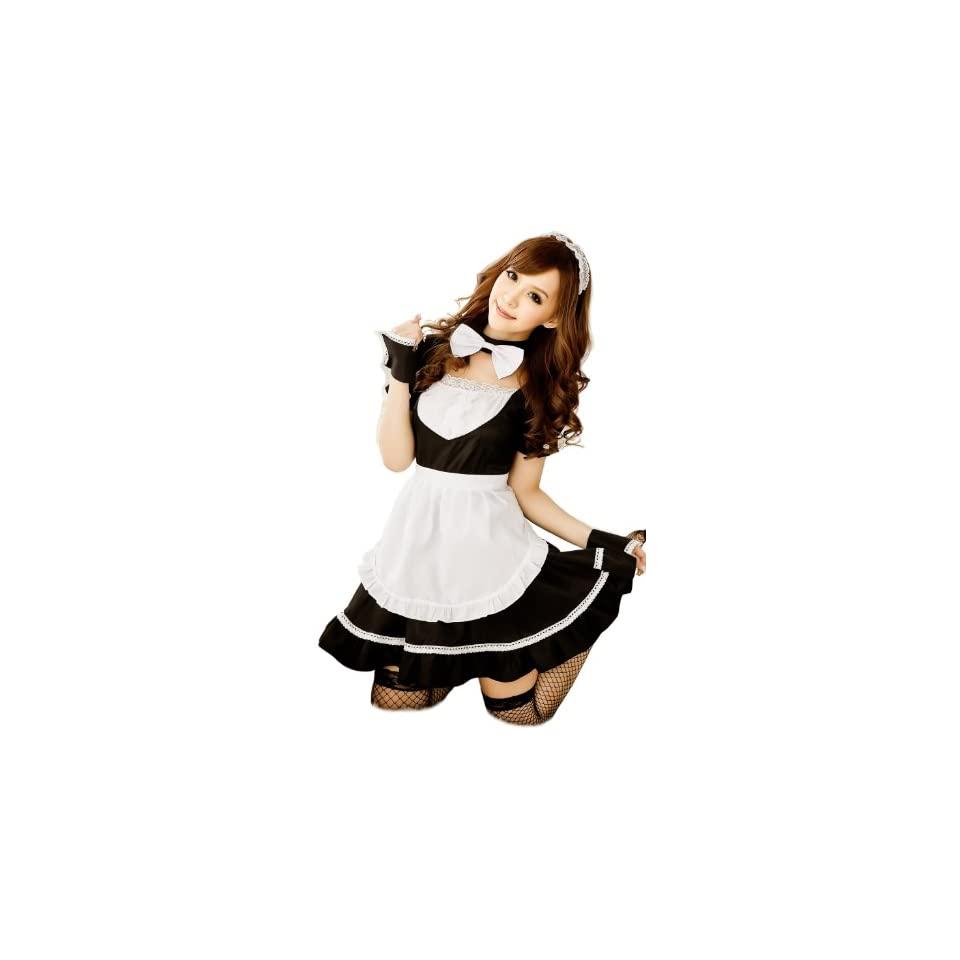 Cool2day Girls Super Cute Bow Style Maid Dress Cosplay Costume Co010063 (Womens XS S/Girls 10 16, Black) Clothing