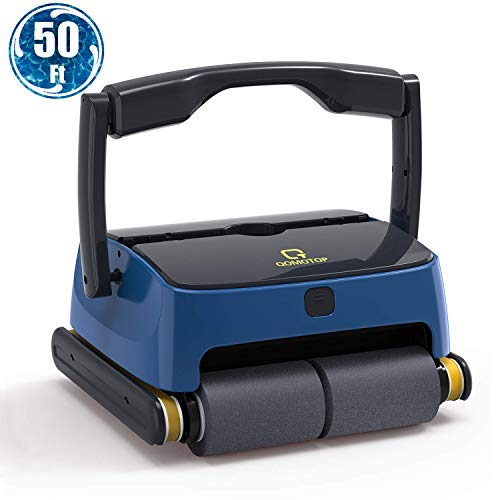 QOMOTOP Automatic Robotic Pool Cleaner, Automatic Wall-Climbing Pool Cleaner, 4 Powerful Scrubbing Brushes for Waterline, 2 Large Filter Baskets, Ideal for Above/in- ground Swimming Pools up to 50 ft