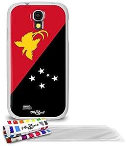 """Carcasa Flexible Ultra-Slim SAMSUNG I9500 / GALAXY S4 de exclusivo motivo [Bandera Papua Nueva Guinea] [Blanca] de MUZZANO  + 3 Pelliculas de Pantalla """"UltraClear"""" + ESTILETE y PAÑO MUZZANO REGALADOS - La Protección Antigolpes ULTIMA, ELEGANTE Y DURADERA para su SAMSUNG I9500 / GALAXY S4"""
