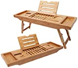 Bamboo Bathtub Tray & Bed Laptop Desk with Foldable Legs, Latest Unique Zen Design Bathtub Caddy & Laptop desk, Top Quality Bamboo Bathtub Caddy Tray with Adjustable Legs, Wine Glass & iPad Holder.