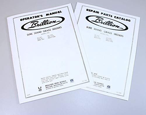 - Brillion Sure Stand Seeder Parts & Operators 2 Manuals Rates Planter Drill