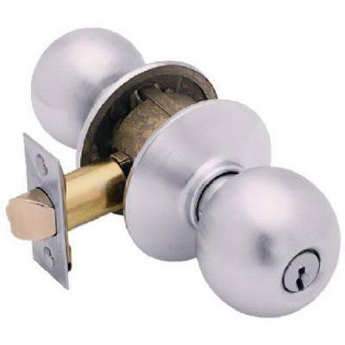 WEISER LOCK F51A ORB 626 Satin Chrome Orbit Design Entry Lockset Universal (Design Locksets)