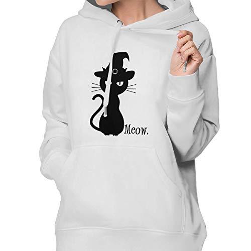 (Black Cat Halloween Women's Casual Hoodie Sweatshirt with)