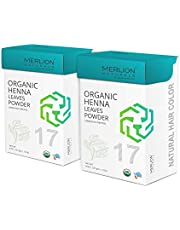 Organic Henna Leaves Powder by MERLION NATURALS | Lawsonia Inermis | Certified Organic | For Natural Hair Color and Conditioning - 454 gm