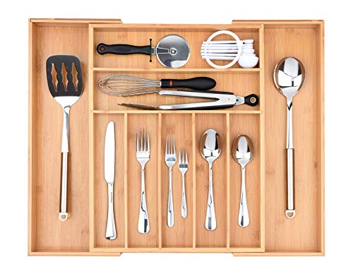 Baroget Premium Bamboo Kitchen Drawer Organizer(Expandable Tray) | Large, Extra Deep | 9 Compartments Store Silverware & Utensils, Cutlery Tray, Organic Bamboo