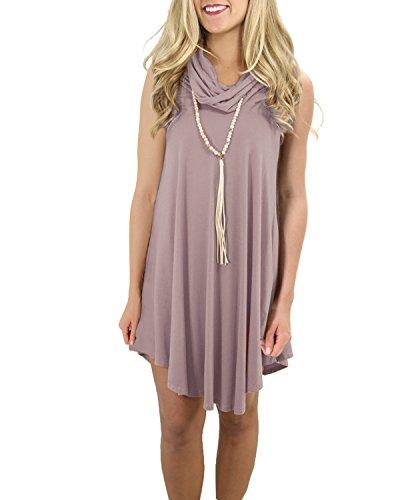 Linhuier Women's Casual Cowl Neck Swing Loose T Shirt Dress Sleeveless Coffee,S - Sleeveless Cowl Neck Dress