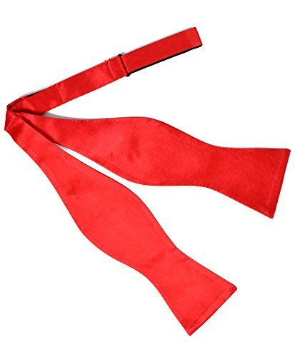 Red Freestyle Bow Tie - Men's Bold Solid Silk Satin Freestyle Bow Ties (Red)