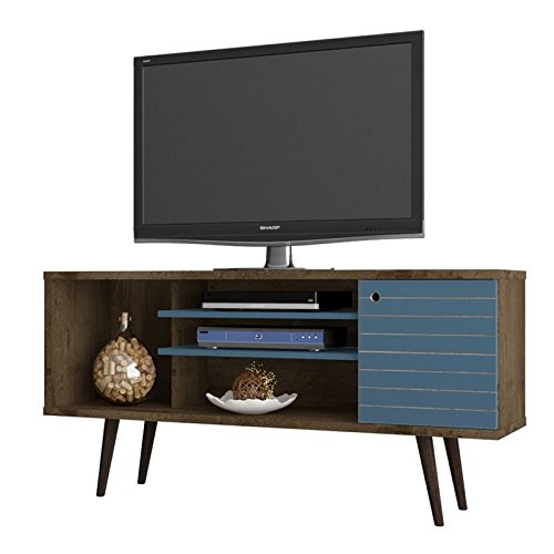 Manhattan Comfort Liberty Collection Mid Century Modern TV Stand With One Cabinet and Three Open Shelves and One Cubby With Splayed Legs, Wood/Blue