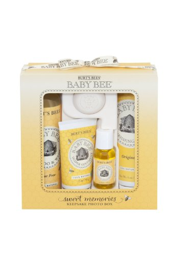 Burt's Bees Baby Sweet Memories Gift Set with Keepsake Photo Box, 4 Baby Products – Shampoo & Wash, Lotion, Diaper Rash Ointment and Soap