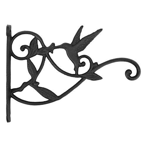 Lewondr Wall Hanging Plants Bracket, Retro Hummingbird Wrought Iron Hanging Flower Hooks Rack Wall Bracket for Plant Basket Lanterns with Screws, Garden Balcony Outdoor Décor ()