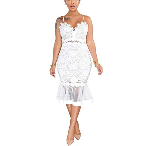 (Women's Lace Outfit Dress Spaghetti Strap Cami Hollow Out Midi Skirt White M)