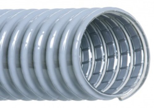 Hi-Tech Duravent Super Vac-U-Flex Series PVC Vacuum Duct Hose, Grey, 1-1/2