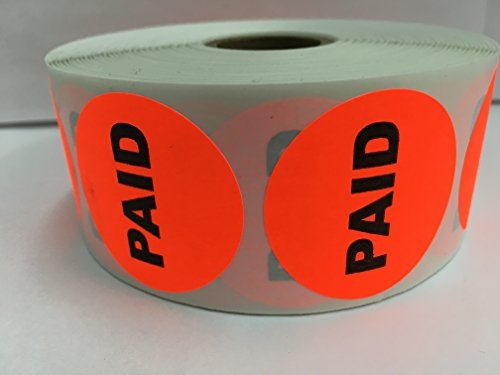 "1000 Labels 1.5"" Round Bright Red PAID Pricing Price Point Retail Stickers 1 Roll"