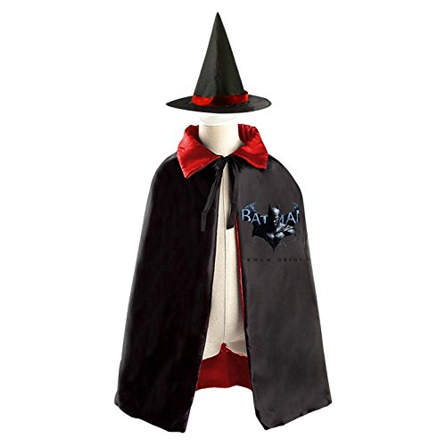 DIY BATMAN Arkham Origins Costumes Party Dress Up Cape Reversible with Wizard Witch Hat (Halloween Trick Or Treating Origin)