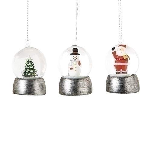 Santa Snowman and Tree 2 Inch Resin Glitter Snow Globe Ornament Set of 3 ()