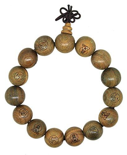Yoga Meditation Wood Bodhi Seeds Prayer Beads Wrist Mala Stretch Bracelet (Green Sandalwood ()