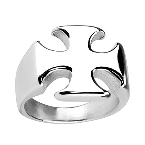 Rafferty: Unisex Design Maltese Cast Iron Cross Biker Ring 316 Stainless Steel, 3054 sz 9.0 Maltese Cross Mens Ring