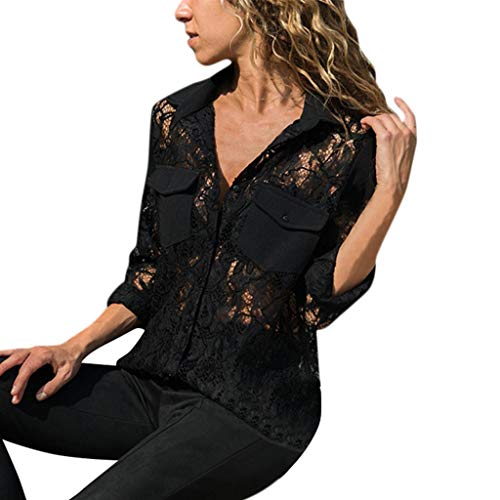 (EOWEO Women Sexy Solid Long Sleeve V-Neck Lace Patchwork Button Up Front Shirt Tops)