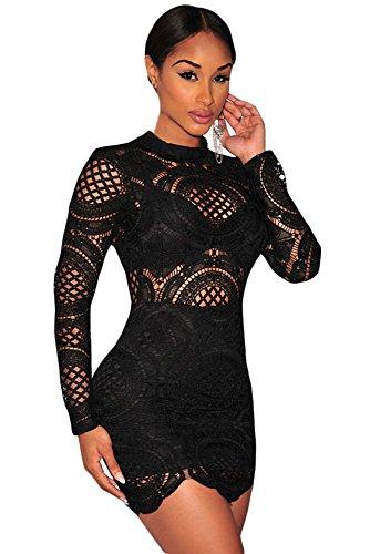 EZON-CH Women's Crochet Lace High Neck Mini Dress Black L
