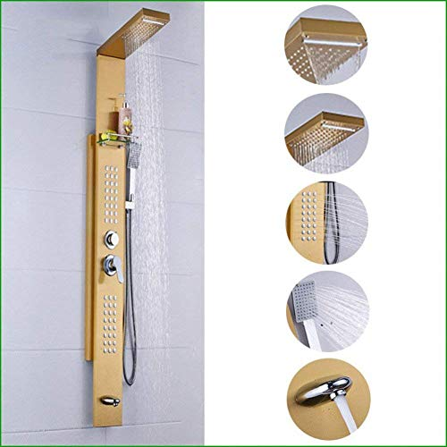 Brushed Stainless Steel Shower Set in Brushed Contemporary Gold with Shower ()