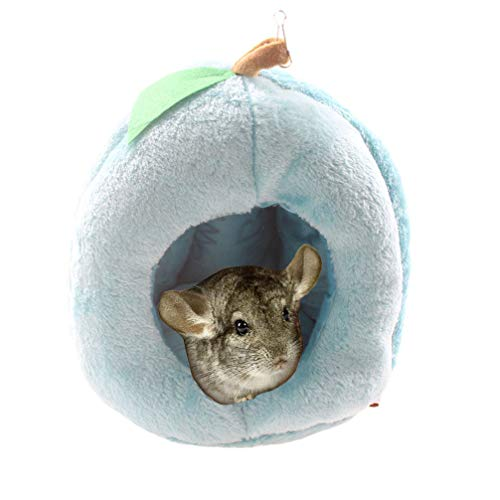 Emours Rats Hamster Chinchilla Winter Warm Fleece Hanging Cage Hammock House Cute Fruit Design with Bed Mat,L,Blue