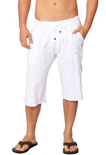 Men's Casual Cotton Cargo Shorts Multi-Pocket Outdoor Wear Capri Lightweight Pants (White, Large)