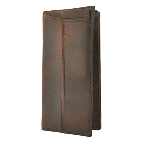 Le'aokuu Mens Genuine Leather Bifold Wallet Organizer Checkbook Card Case (Brown 3) - Mens Wallet Checkbook Leather
