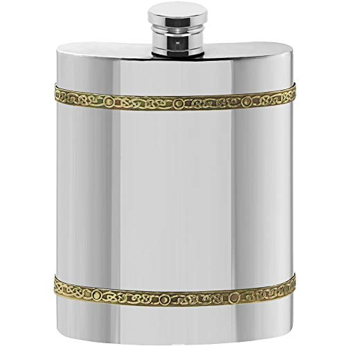 English Pewter Company 6oz Brass Celtic Band Pewter Liquor Hip Flask [CEL489] ()